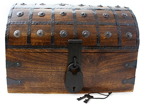 Accent Midnight Chest (Well Pack Box Captain Jack Authentic Antique Style Wooden Pirate Treasure Chest Box With Black Hasp Latch Includes Master Padlock & Vintage Skeleton Keys)