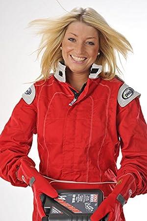 134//140 Speed Kart Combination rouge avec des applications grises Karting suit