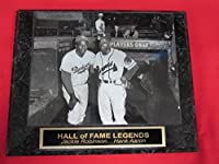 Jackie Robinson Hank Aaron Engraved Collector Plaque w/8x10 VINTAGE Photo