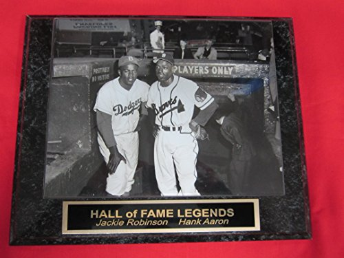 Jackie Robinson Hank Aaron Engraved Collector Plaque w/8x10 VINTAGE Photo Braves Baseball Photos