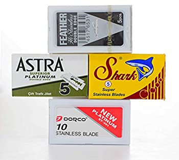 25 Double Edge Razor Blade Sampler - Feather, Shark, Astra and Dorco + Rating Sheet