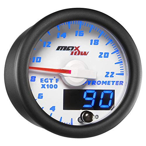 Exhaust Temperature Egt Gauge - MaxTow Double Vision 2200 F Pyrometer Exhaust Gas Temperature EGT Gauge Kit - Includes Type K Probe - White Gauge Face - Blue LED Dial - Analog & Digital Readouts - for Gas Trucks - 2-1/16