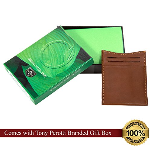 Cow Credit Spring Card Money Tony Tension Mens Clip with Italian Perotti Leather Cognac Slots Wallet q7x7wtHPU