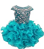 Weiai Toddler Girls' Ruffles Beaded Short Cupcake Pageant Dresses 2/2T US Teal