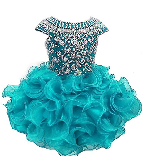 (Weiai Toddler Girls' Ruffles Beaded Short Cupcake Pageant Dresses 2/2T US Teal)