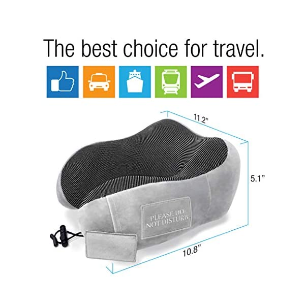Pinacam-Products-Easy-to-USE-Travel-Neck-Pillow-100-Memory-Foam-to-Relax-and-Support-Head-Neck-Includes-Washable-Pillowcase-Bag-Eye-Mask-Earplugs-Removable-Velcro-Design-to-Stop-Distractions-2