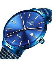 WISHDOIT Herren Uhren Mode Luxus Slim Damen Männer Armbanduhr Classic Lässige Ultradünne Quarzuhr Minimalistisches Design mit Blau Milanaise-Armband