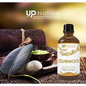 UpNature The Best Cedarwood Essential Oil 4 OZ - 100% Pure & Natural, Undiluted & Unfiltered, GMO Free, Premium Quality With Glass Dropper - For Hair Growth - Perfect For Dogs & Fleas & Yard