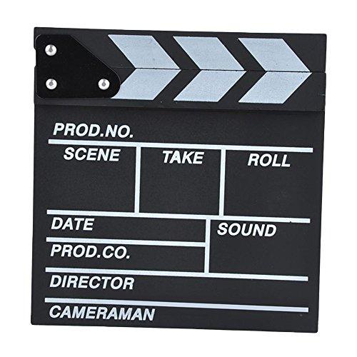 Leermart Classical Director Clapper Board Scene Clapperboard Cut Prop for TV Film Promo Videos or Fun (30 x 27cm, black) by Leermart