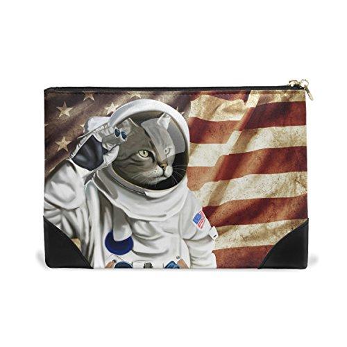 ALAZA Makeup Bag Astronaut American Flag Zip Soft Cosmetic Pencil Bag Kawaii for Men - By Astronauts Sunglasses Used