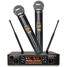 Phenyx Pro Dual UHF Wireless Microphone System, Cordless Mics for 250ft Long Range Professional Performance, 80 Channels, Metal Built, 16h Battery Life, Ideal for Presentation, Church, Events (PTU-71)