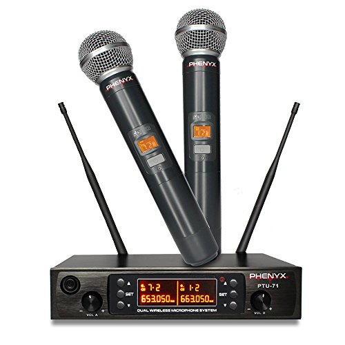 Phenyx Pro Dual UHF Wireless Microphone System, Metal Receiver and Handheld Mics, 80 Channels, Up to 250ft Professional Operation, 16 Hours Use, Ideal For Church, Karaoke (Dual Channel Handheld)
