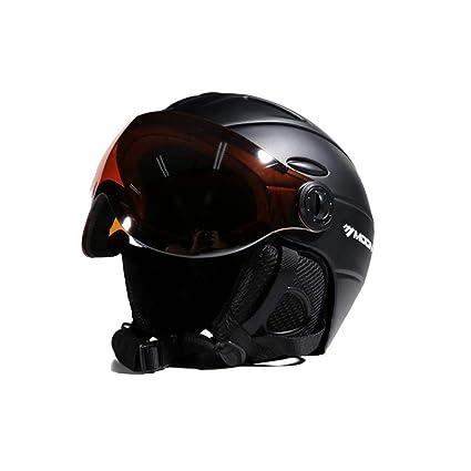 EnzoDate 2-en-1 Visera esquí Snowboard Casco máscara de Nieve Desmontable antivaho Anti-UV Integrado Gafas Protectoras bajo Peso Adultos Hombres ...