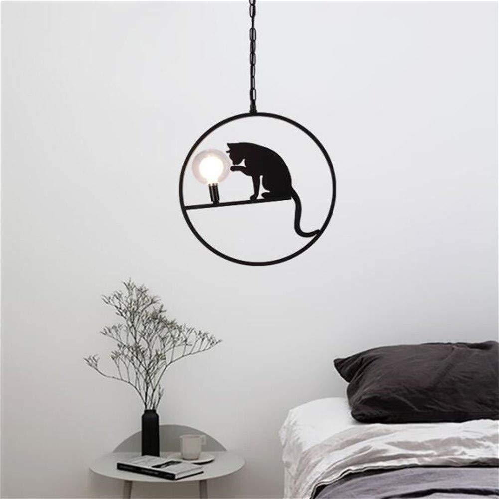 Memgzhu-Michelle Retro Chandelier Modern Black Cat Design Ceiling Light Hanging Lamp Round Glass lampshade Pendant Light for Bedroom Island Kitchen Bar Dining G4 7W φ40cm