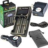 Xtar VC2 Plus MASTER USB Charger / Power Bank for Li-ion/Ni-MH/Ni-CD Batteries with LightJunction USB Wall Plug and Car Adapter