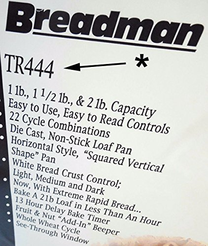 Nueva paleta de amasado para Breadman modelo # tr444 Deluxe 59 ...