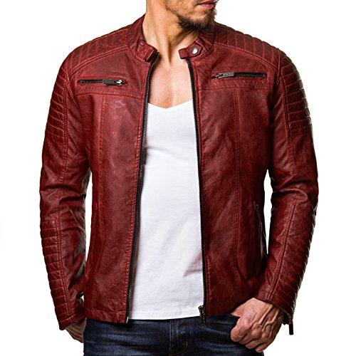 Redbridge Giacca Da Uomo, Stile Biker, In Pelle Vera E Cotone Con Elementi Trapuntati Rot - Red