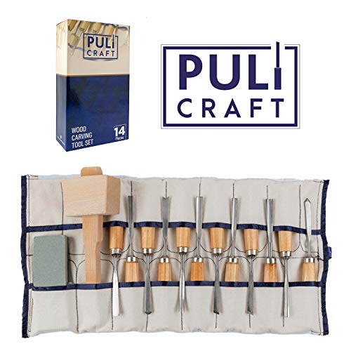 Puli Craft Wood Carving Tools Set - Heavy Duty Woodworking Kit with Carry Case - Precision Cutting & Shaping for Personal & Professional Use (Best Quality Wood Carving Tools)