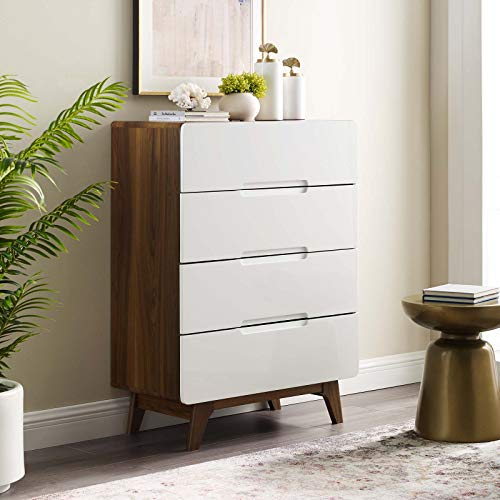 Modway MOD-6075-WAL-WHI Origin Four-Drawer Chest or Stand, Walnut ()