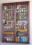 XL Shot Glass Display Case Rack Holder Cabinet w/ Mirror Backed and 11 Glass Shelves -Walnut