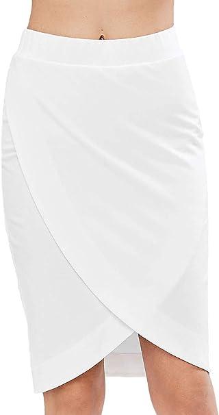 Faldas Mujer Verano Colores Sólidos Fashion Tubo Faldas Crossover ...