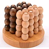 WISDOMTOY 3D Wooden Brain Teaser Connect 4 in 1 Row Desktop Link Board Game Intelligence Toy for Kids and Adults