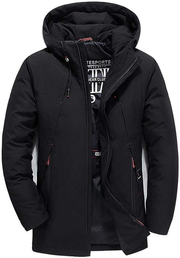 Aehoor Winter Men Down Jacket Slim Hooded Warm and Windproof 90/% Duck Down Black