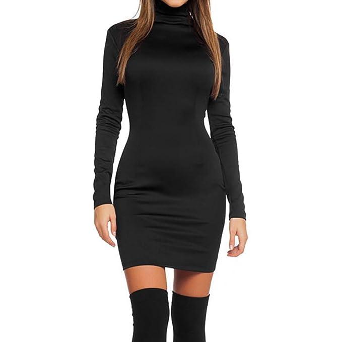 2fe7bf3aea50 Homebaby Vestito Donna Invernale Casual Vintage Retro Abito da Ragazze  Elegante Sexy Maniche Lunghe Tops Cerniera Sottile Mini Dress  Amazon.it   ...