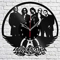 Aerosmith Vinyl Record Wall Clock Fan Desing Art Decor Original Gift Art Unique Decorative Vinyl Clock Black 12