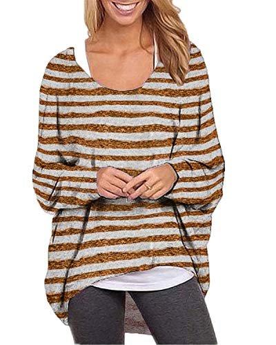 ZANZEA Women's Batwing Long Sleeve Off Shoulder Stripe Oversized Baggy Tops Sweater Pullover Casual Blouse T-Shirt Brown L