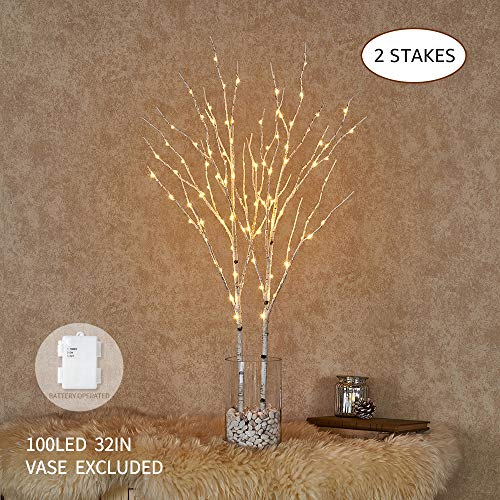 Hairui Lighted Artificial Twig Birch Tree Branch with Fairy Lights 32IN 100 LED Battery Operated Lighted White Willow Branch for Christmas Home Decoration Indoor Outdoor Use 2 Pack (Vase Excluded) (Arrangements Led Lit Flower)