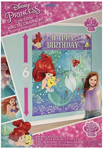 """Hot Amscan Enchanting Disney Ariel Dream Big Birthday Party Scene Setters Wall Decorating Kit (5 Piece), Multicolor, 59"""" x 65"""" for sale"""