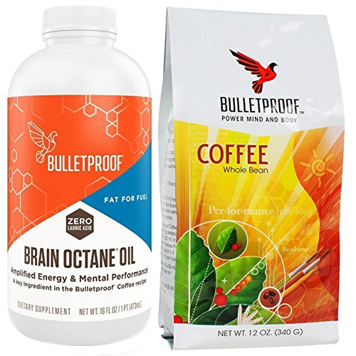 Bulletproof Upgraded Coffee 12 OZ - Brain Octane Printing 16 fl OZ, Starter Kit