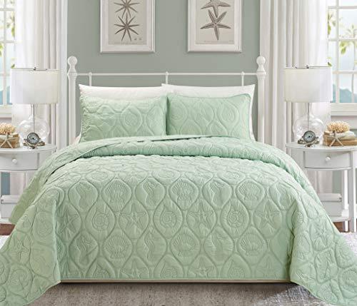 Chezmoi Collection Coral 3-Piece Seashore Beach Shells Bedspread Coverlet Set (Queen, Sage Green) ()