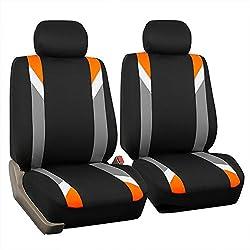 FH Group FB033ORANGE102 Bucket Seat Cover (Modernistic Airbag Compatible (Set of 2) Orange)