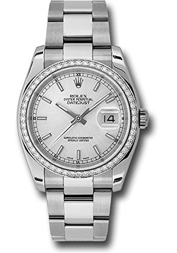 Rolex Datejust 36mm Stainless Steel Case, 18K White Gold Bezel Set With 52 Brilliant-Cut Diamonds, Silver Dial, Index Hour Markers, And Stainless Steel Oyster Bracelet.