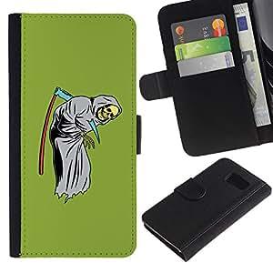 Paccase / Billetera de Cuero Caso del tirón Titular de la tarjeta Carcasa Funda para - Scythe Death Funny Reaper Grim Green - Samsung Galaxy S6 SM-G920