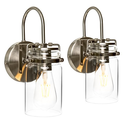 (Best Choice Products Set of 2 Industrial Metal Hardwire Wall Light Lamp Sconces w/Clear Glass Jar Shade - Silver)