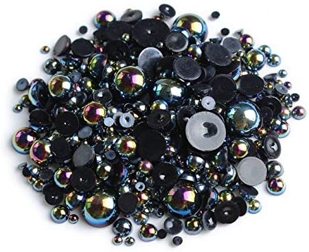 Amazon.com: Xucus ! ABS Half Round Flatback Pearls Black AB Color Mix Size 2mm/3mm/4mm/5mm/6mm/8mm 15g Beads DIY Accessories: Arts, Crafts & Sewing