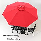 Mallofusa 8ft 8 Ribs Umbrella Cover Replacement Canopy (Red)