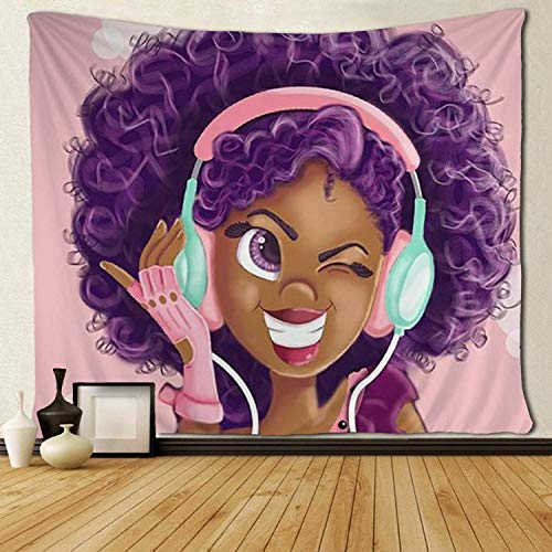 LONGBF Tapestry Black Girl African American Girl Love Music Tapestries Hippie Art Wall Hanging Throw Tablecloth 60 X 50 Inches for Bedroom Living Room Dorm Room ()