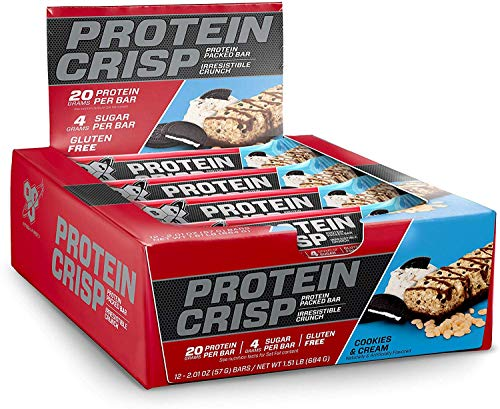 BSN Protein Crisp Bar by Syntha-6, Low Sugar Whey Protein Bar, 20g of Protein, Cookies & Cream, 12 Count