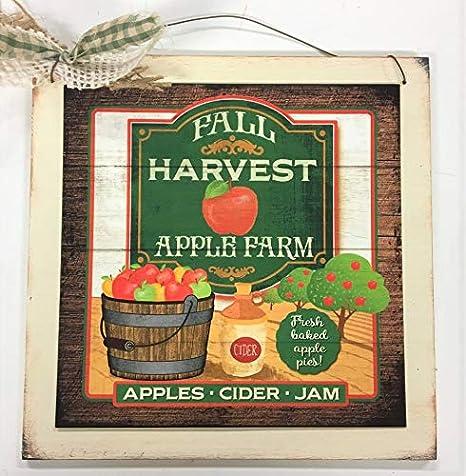U-pick Tasty Apples Wooden Kitchen Wall Art Sign Fruit Decor