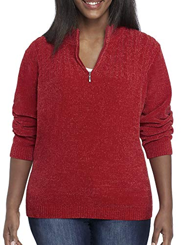 Alfred Dunner Women's Classic Chenille 1/4 Zip Sweater (Red, Petite Medium) ()