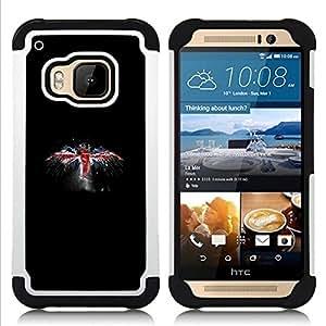 """HTC One M9 /M9s / One Hima - 3 en 1 impreso colorido de Altas Prestaciones PC Funda chaqueta Negro cubierta gel silicona suave (Reino Unido Bandera del Grunge"""")"""