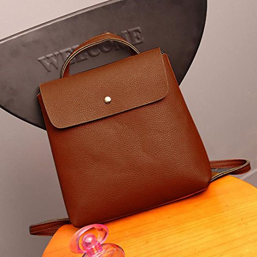 Purse Leather Fashion Inkach Bags Brown School Backpack Travel Rucksack Bag Womens Satchel wqIErEt