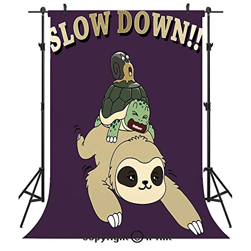 Sloth Photography Backdrops,Funny Cartoon Scenery with Sloth Turtle Snail on Top of Each Other Slow Down Phrase Decorative,Birthday Party Seamless Photo Studio Booth Background Banner 3x5ft,Multicolor