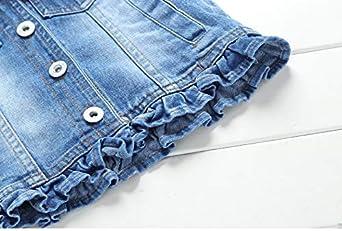 YAO Little Girls Denim Vest Spring Autumn Sequins Vest Coat