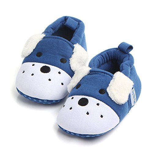 Pictures of Save Beautiful Cute Animal Infant Baby Girl Boy Toddler Shoes Sneaker Anti-Slip Soft Sole First Walkers Shoes (12-18 Months, Blue Dog) 1