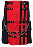 Red/Navy Deluxe Utility Fashion Kilt (40W x 24L)